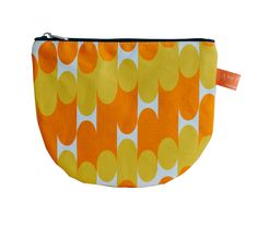 Laura Spring Orange & Mustard Milkky Make Up Pouch: Perfect, playful and practical for all your essential cosmetics. This make up pouch features a new fabric design from Laura Spring. Made in Scotland.