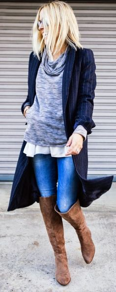 Grey Cow Neck Sweater