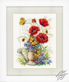 Watering Can with Flowers - Cross Stitch Kits by VERVACO - PN-0021583
