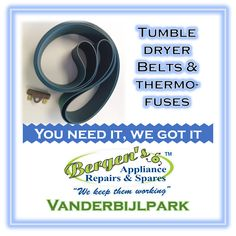 Your tumble dryer not tumbling. Getting it working again is quick and easy for us. #tumbledryer #thermofuse #wefix #bergensappliances #wekeepthemworking #quote #inthekitchen #southafrica #vanderbijlpark  Vanderbijlpark Branch Follow us on Instagram and Pinterest WhatsApp:   076 960 6467 Email:   vanderbijlpark@bergens.co.za