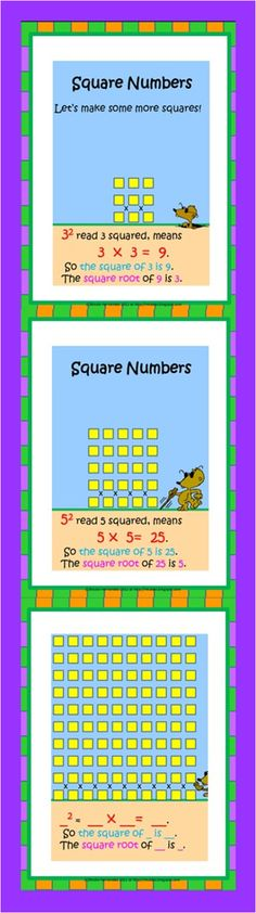 A Teacher's Idea: MATH Resources-Do your students really understand square numbers and square roots? This is a great explanation to get them working. The illustrations are precise, the explanations are simple. They are great for your math centers for both individual and class sessions and they can be placed in your bulletin board area too!