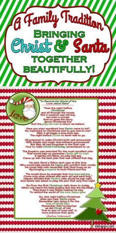 This is a beautiful way to bring Santa and Christ together. A must read and free printable to bring the real meaning of christmas and Santa together!