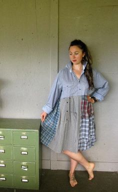 Eco upcycled clothing Funky Patchwork dress by lillienoradrygoods Altered Couture, Diy Clothing, Sewing Clothes, Diy Kleidung, Frocks For Girls, Altering Clothes, Patchwork Dress, Mori Girl, Diy Fashion