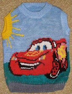 Disney Cars MC Queen intarsia sweater pattern