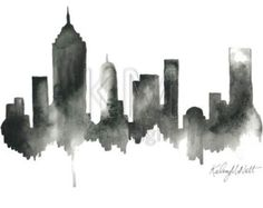 black and white city skyline - Google Search