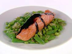 Balsamic-Glazed Salmon from FoodNetwork.com.  Going to try this without the edamame since breast cancer survivors should avoid soy.