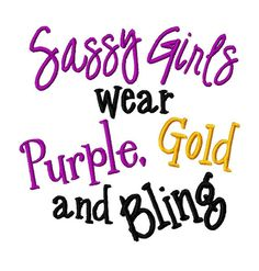 Sassy Girls wear Purple Gold and Bling  Machine by LilliPadGifts, $4.50