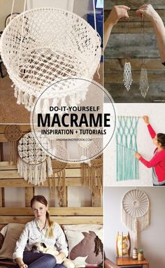 Macrame is still making a comeback! Learn how to make some really awesome projects with these inspiring macrame tutorials. Macrame Projects, Craft Projects, Yarn Crafts, Diy And Crafts, Macrame Curtain, Boho Designs, Macrame Knots, Diy Macrame, Macrame Patterns
