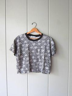 3fe9e053412dd 80s Cropped Tshirt Floral Print Tee Black White Vintage Shirt Cotton Crop  Top