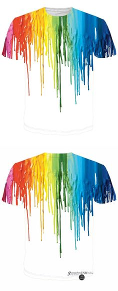 YNM 3D Printed Colorful Melted Crayon Graphic Tee-Shirt Fashion Hot Men Women T Shirts Summer Style Clothing Men Camisetas