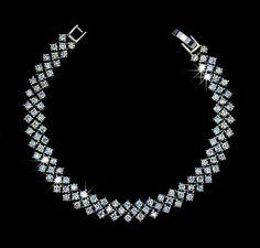 Strand Round Cubic Zirconia Wedding Bracelet 3 Row by AmodeJewelry