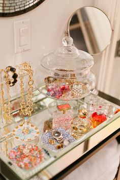 pretty jewelry display/organization - the mirrored tray, the candy dish, love it all. This needs to happen at my house.