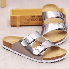 7f75d7459c1103 2017 Cork Slippers Women Summer Beach Sandals Floral Cork Slipper Flower Flip  Flops Silver Bringt Casual Slides Shoes Flat Sweet-in Women s Sandals from  ...