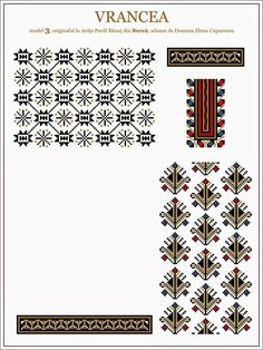 Semne Cusute: iie de Vrancea, MOLDOVA Folk Embroidery, Embroidery Patterns, Cross Stitch Patterns, Knitting Patterns, Folk Fashion, Beading Patterns, Blackwork, Diy And Crafts, Elsa
