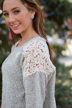 Crochet Top Silver Sweater