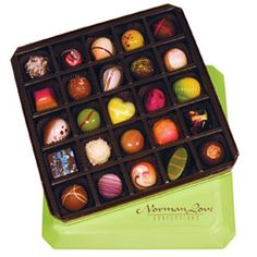 Norman Love chocolates: the best chocolates I've ever had, as well as the most beautiful! These are hand painted, and all ingredients are fresh