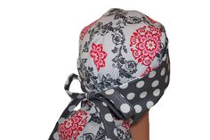Surgical Scrub Hat - Scrub Cap -  Tie Back - Front Fold Ponytail Scrub Hat - Grey Hot Pink Dots  - 2nd item ships Free