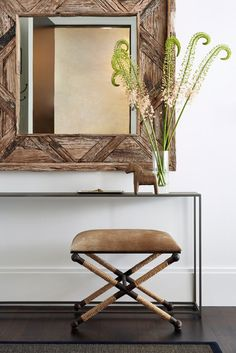 Stunning rustic foyer features a square reclaimed wood mirror mounted on a white wall above a sleek iron console table positioned above a Uttermost Braddock Small Bench placed in front of a black bound sisal rug. Luxury Interior, Decor Interior Design, Luxury Furniture, Interior Architecture, Furniture Design, Interior Decorating, Furniture Vintage, Industrial Furniture, Vintage Industrial