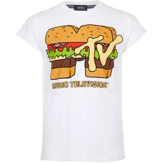 TOPMAN White Burger Mtv Hi Roll Crew Neck T-Shirt ($33) ❤ liked on Polyvore