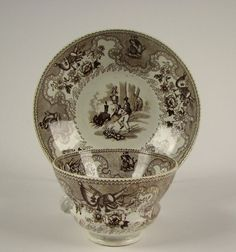 Antique American Historical Staffordshire Transfer Cup Saucer TEXIAN CAMPAIGNE
