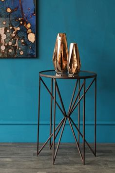 Add a touch of playful geometric design to your room with this Butterfly Side Table, now available in our favourite design duo - Brass & White Marble!With an eye-catching brass base and white marble top, this side table is the ideal piece to add Table Furniture, Home Furniture, Furniture Projects, Vintage Furniture, Room Color Schemes, Teal Walls, Round Side Table, Industrial, Blue Rooms