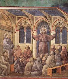 Fresques de la vie de saint François à Assise (Giotto) 18. Il apparaît au chapitre des Frères réunis à Arles, pendant un sermon de saint Antoine de Padoue