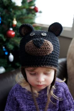 Kids' Animal Collection: a Black/Brown Bear Crocheted Hat with Earflaps and Ball Ties  (Toddler size)