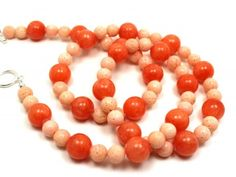 tangerine jade and sponge coral necklace