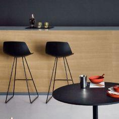 My favorite barstool! Miunn_KarriMonni_lapalma_OrangeSkin   Lapalma Miunn design barstool  seat wood or laquered, frame black or white