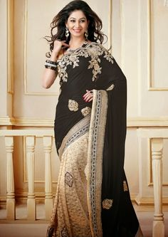 Black and Beige Velvet and Chantelle Net Saree with Blouse Online Shopping: India Fashion, Asian Fashion, Fashion Women, Indian Dresses, Indian Outfits, Lehenga, Velvet Saree, Indie Mode, Party Kleidung