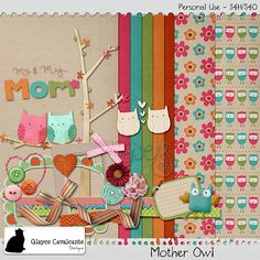Mother Owl mini kit freebie from Glayce Cavalcante Designs