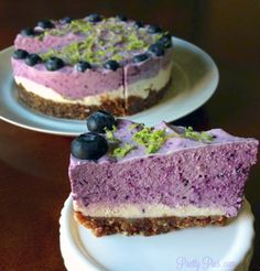 Blueberry Lime Cheesecake {Vegan/GF/Paleo} without the cheese! | Pretty Pies