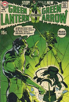 green lantern 76: an emerald green cover and Neal Adams art: the beginning of a great story arc.