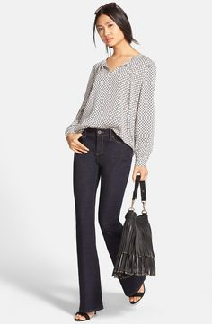 Nordstrom Collection Tie Neck Blouse & Flare Leg Jeans