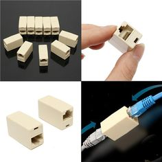 10Pcs RJ45 Cat5e Straight Network Cable Ethernet LAN Coupler Joiner Connector