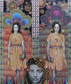 Asad Faulwell Les Femmes D'Alger #24 (2013). Acrylic and paper on canvas. Courtesy of Asad Faulwell and Lawrie Shabibi