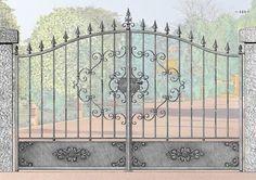Portones en fierro forjado - La Granja Front Gate Design, Main Gate Design, House Gate Design, Wrought Iron Gate Designs, Wrought Iron Fences, Aluminium Gates, Metal Gates, Front Gates, Entrance Gates