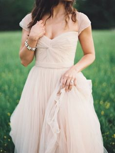 Cap Sleeves Blush Wedding Dresses,Cheap Wedding Dresses,Blush Tulle