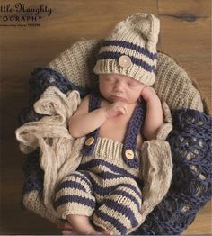 Newborn Baby Boys Crochet Knit Hat Infant Photo Photography Bib Pant Prop Outfit #NIBOX