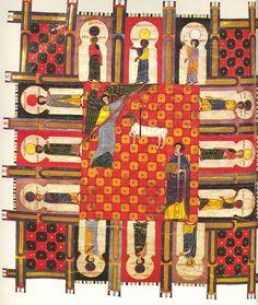 Miniatur aus dem Facundus-Beatus: Der Engel vermisst das Neue Jerusalem mit einem Stab oder Schilfrohr. Außerdem zu erkennen: das Lamm Gottes und je ein Satz von zwölf Figuren, Toren und Steinen