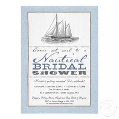 Vintage Nautical Bridal Shower Invitation.