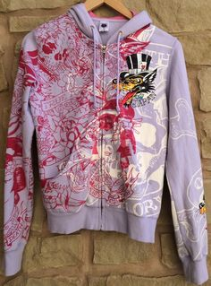 Christian Audigier ED HARDY Lavender Japan Kiss Of Death Sweatshirt Hood Woman M #EdHardyChristianAudigier #SweatshirtHoodie