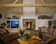 Wood and stone fireplace.
