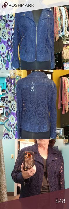 """Chicos size 1 lace bomber shirt/jacket Excellent condition, beautiful navy blue with gold hardware, nice weight to the fabric, wonderful to layer with a camisole or tee shirt. Beautiful accents! Measures 26"""" by 20"""" under arms Chico's Tops"""