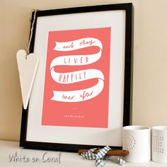 Personalised Wedding Print A4  Happily ever after by OldEnglishCo, £15.00