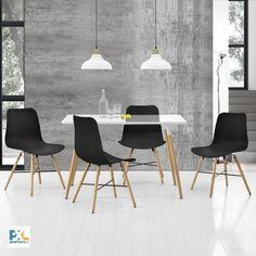 Jedálenský stôl 120 x 70 cm má matnú MDF dosku a bol inšpirovaný najnovšími dizajnovými trendmi. Je skvelou voľbou pri výbere nábytku do jedálne, jedálenského kúta alebo kuchyne. Zabezpečuje dostatok miesta pre 4 osoby na plastových stoličkách s drevenými nohami. #premiumXL.sk #premiumXL #jedálenské zostavy #dizajn #štýl #bývanie #stolovanie #drevo #biela #čierna