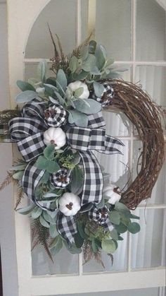 Fall farmhouse wreath farmhouse wreath buffalo check wreath pumpkin wreathfall wreath fall front door wreath black white wreath Fall Ideas and deco White Wreath, Diy Wreath, Wreath Fall, Wreath Ideas, Spring Wreaths, Wreaths Crafts, Mesh Wreaths, Winter Wreaths, Autumn Wreaths For Front Door