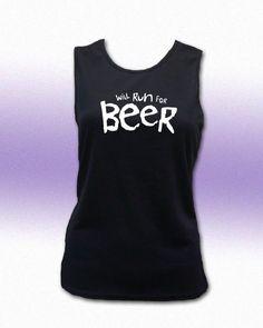 Will Run For Beer Women's Crew Neck Tech. Tank