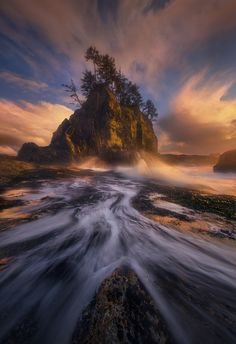 Rush - An exciting evening of shooting on the Olympic coast of Washington yielded us some nice wave action shots and somehow we only lost one camera to salt water.  With five meter high waves thundering down on the rock I was standing on, I would race back and forth trying to take cover up higher every time the next 'big one' was coming.  My friend, on one of the trips I was leading, decided to stay put and got a great shot of the wave coming down out of the sky.  While the kind of action…