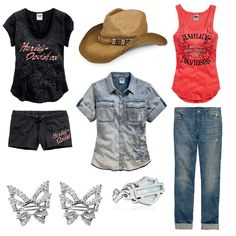 Featuring the Harley-Davidson® Summer Collection. HDR0363 -Filigree Mother Of Pearl Ring. HDE0382 - SS Butterfly Earrings. 96041-15VW - Sleep Tee. 96042-15VW - Sleep Short. 97770-15VW - Cowboy Hat. 96053-15VW -  Acid Wash Denim Shirt. 96046-15VW - Spirit Winged Tank. 96188-15VW - Black Label Boyfriend Mid-Rise Jean